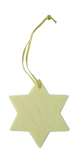 Filzanhänger Stern, klein (Filzstärke: 5 mm) - creme - optional mit Siebdrucktransfer