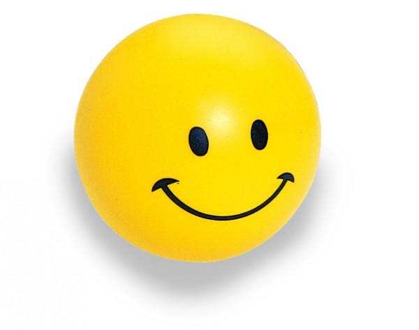 SQUEEZIES® Ball Smiley-Gesicht - gelb (Größe: ca. 6,3 cm Durchmesser) - optional mit Tampondruck