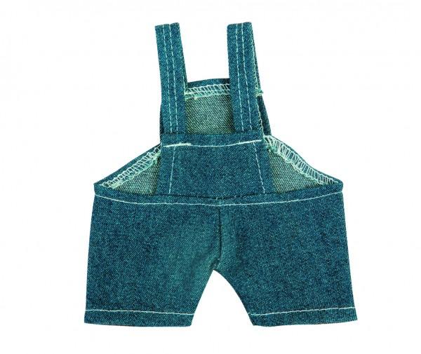Jeans-Latzhose für Plüschtiere Gr. L - dunkelblau (Größe: passend für Plüschtiere) - optional mit Si