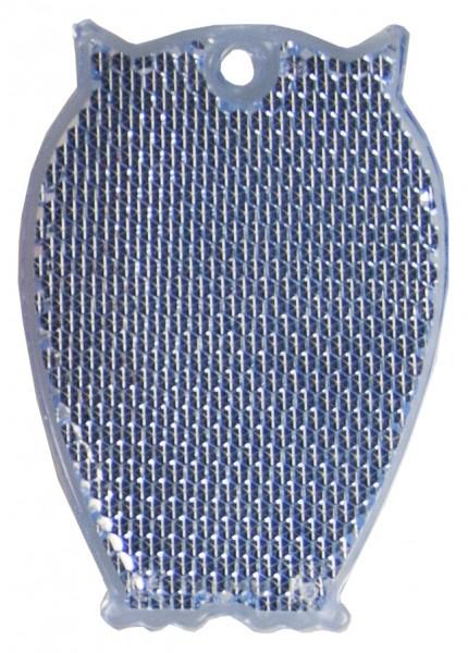 Fußgängerreflektor Eule - blau (Größe: ca. 6,5 cm) - optional mit Tampon-/Siebdruck