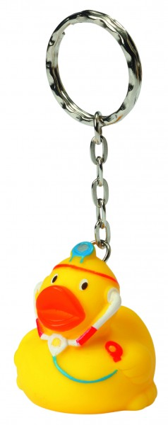 Schlüsselanhänger Quietsche-Ente Doktor - gelb (Größe: ca. 4 cm) - optional mit Tampondruck