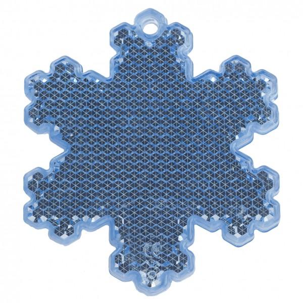 Fußgängerreflektor Eiskristall - blau (Größe: ca. 6,5 cm) - optional mit Tampon-/Siebdruck