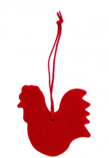 Polyesterfilz Anhänger Gockel groß (Filzstärke: 5 mm) - rot - optional mit Siebdrucktransfer