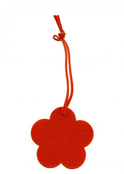 Polyesterfilz Anhänger Blume klein (Filzstärke: 5 mm) - orange - optional mit Siebdrucktransfer