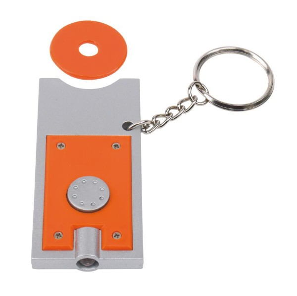 LED-Schlüsselanhänger SHOPPING in silber, orange