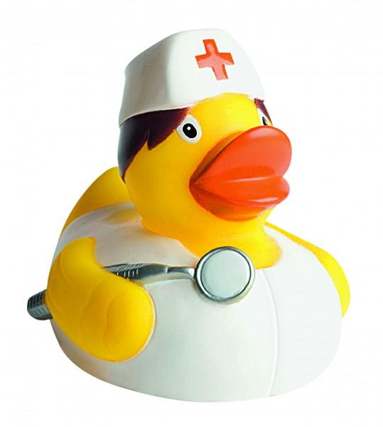 Quietsche-Ente Krankenschwester - gelb (Größe: ca. 8 cm) - optional mit Tampondruck
