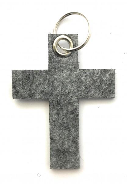 Kreuz groß - Schlüsselanhänger aus Filz in grau meliert - optional mit Gravur / Aufdruck