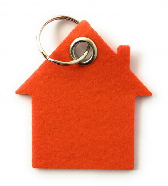 Haus - Schlüsselanhänger aus Filz in orange - optional mit Gravur / Aufdruck
