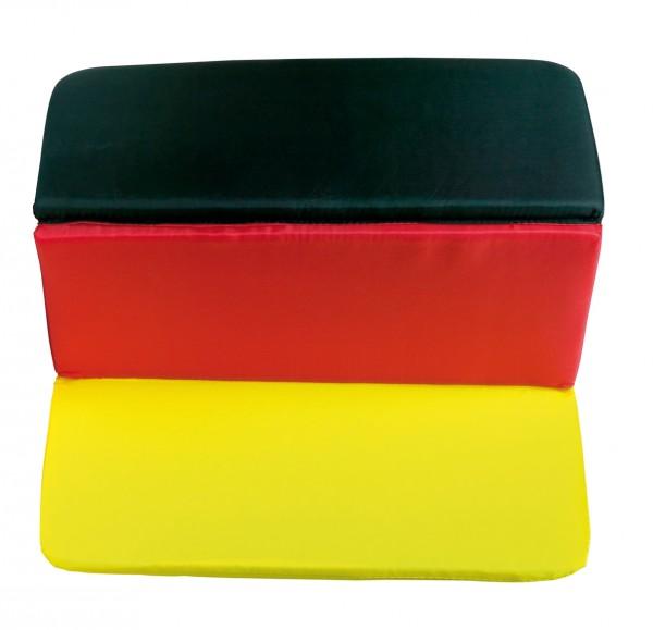 Sitzkissen faltbar - schwarz/rot/gelb - optional mit Siebdrucktransfer