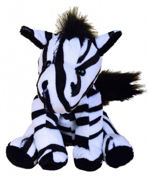 Zootier Zebra Zora - schwarz/weiß (Größe: ca. 18 cm) - optional mit Siebdrucktransfer, Direkttransfe