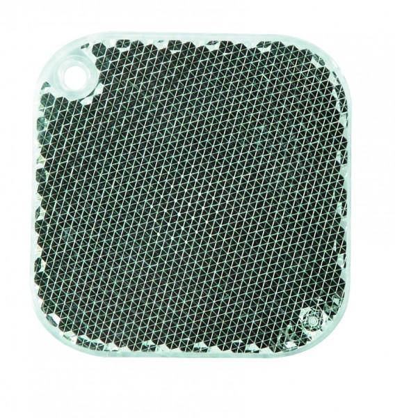 Fußgängerreflektor Quadrat - weiß (Größe: ca. 5,5 cm) - optional mit Tampon-/Siebdruck