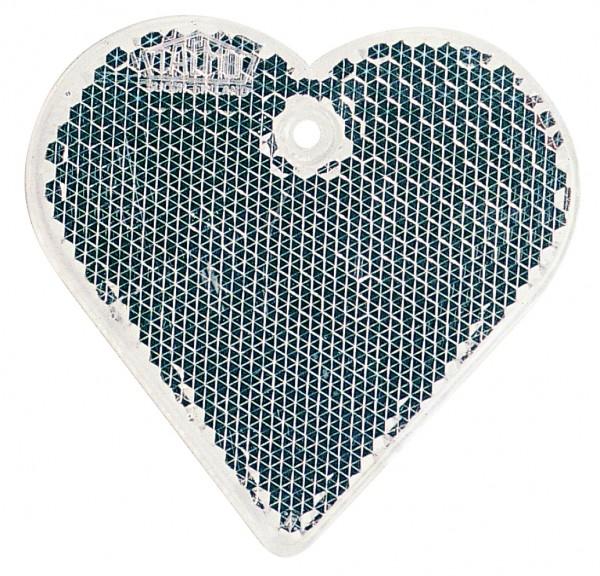 Fußgängerreflektor Herz - weiß (Größe: ca. 6 cm) - optional mit Tampon-/Siebdruck