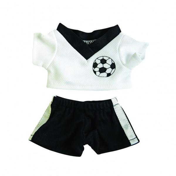 Fußball-Dress Gr. S - schwarz/weiß (Größe: passend für Plüschtiere) - optional mit Siebdrucktransfer