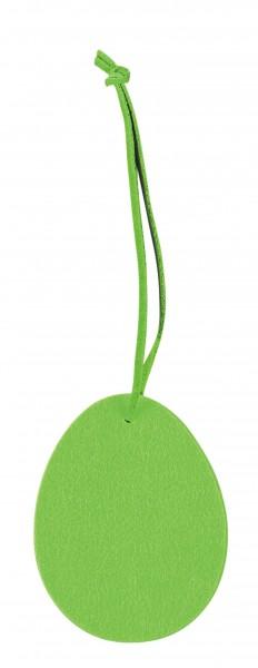 Polyesterfilz Anhänger Osterei klein (Filzstärke: 5 mm) - grün - optional mit Siebdrucktransfer