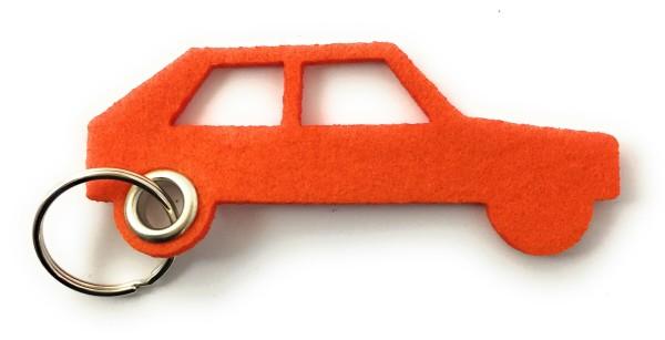 Auto - retro - Schlüsselanhänger aus Filz in orange - optional mit Gravur / Aufdruck