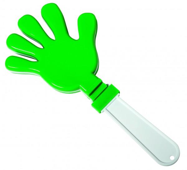 Klapperhand - grün/weiß (Größe: ca. 29 cm) - optional mit Tampondruck