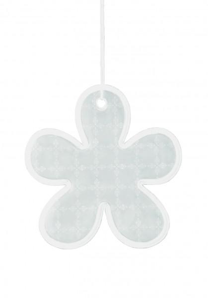 Weichplastikreflektor Blume - silber (Größe: ca. 5,7 cm) - optional mit Siebdrucktransfer