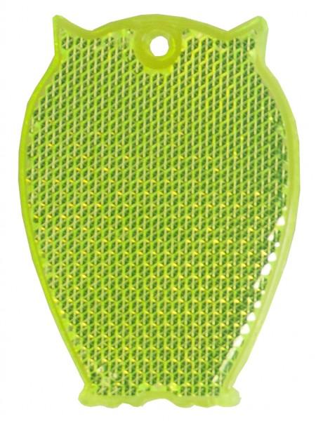 Fußgängerreflektor Eule - neongelb (Größe: ca. 6,5 cm) - optional mit Tampon-/Siebdruck