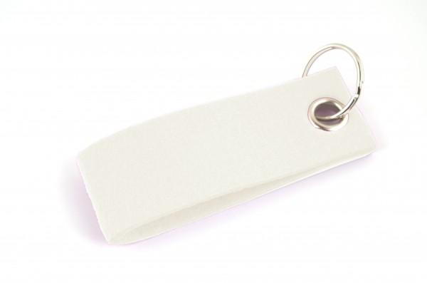 Schlüsselanhänger aus Filz in Weiß - Schlaufe ca. 30x90mm - made in Germany