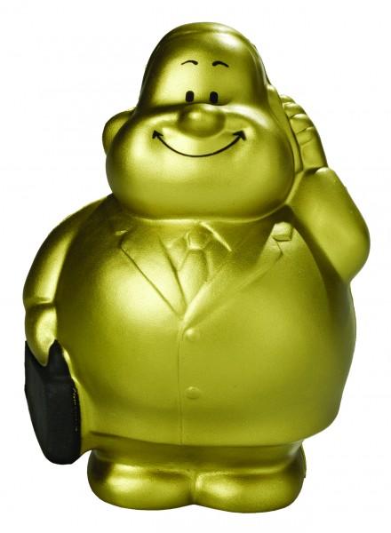 SQUEEZIES® Gold Bert® - gold (Größe: ca. 10 cm) - optional mit Tampondruck