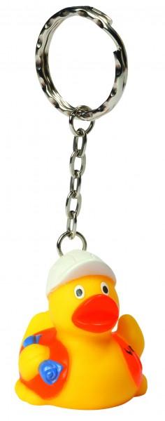 Schlüsselanhänger Quietsche-Ente Bauarbeiter - gelb (Größe: ca. 4 cm) - optional mit Tampondruck