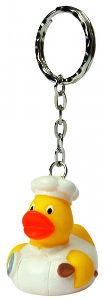 Schlüsselanhänger Quietsche-Ente Koch - gelb (Größe: ca. 4 cm) - optional mit Tampondruck
