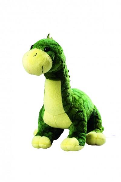 Plüsch Dino Tino klein - grüngelb (Größe: ca. 19 cm) - optional mit Tampondruck, Siebdrucktransfer,