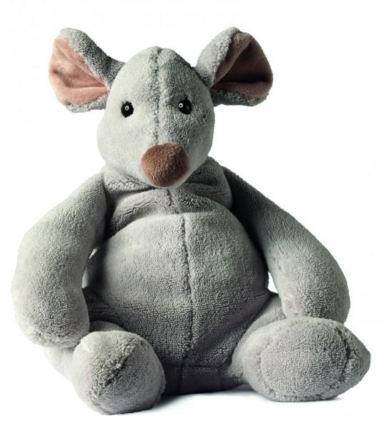 Plüsch Maus Mirja - grau (Größe: ca. 29 cm) - optional mit Siebdrucktransfer, Direkttransfer