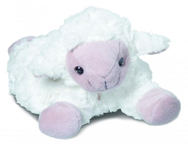 Plüsch Schaf für Wärmekissen - weiß (Größe: ca. 28 cm) - optional mit Tampondruck, Siebdrucktransfer