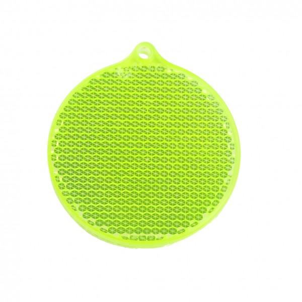 Fußgängerreflektor Rondell - neongelb (Größe: ca. 5,5 cm) - optional mit Tampon-/Siebdruck
